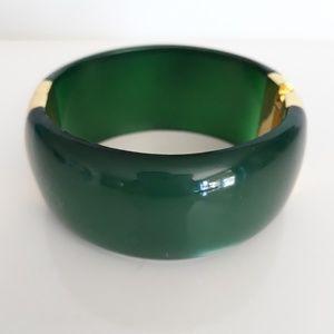 Forest Green & Gold Hinged Bangle Bracelet